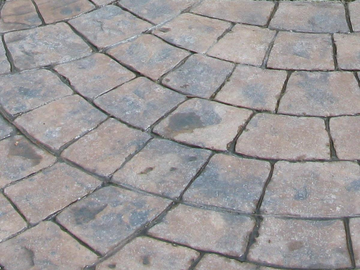 Block paving styles such as European fan can all be produced using stamped concrete.