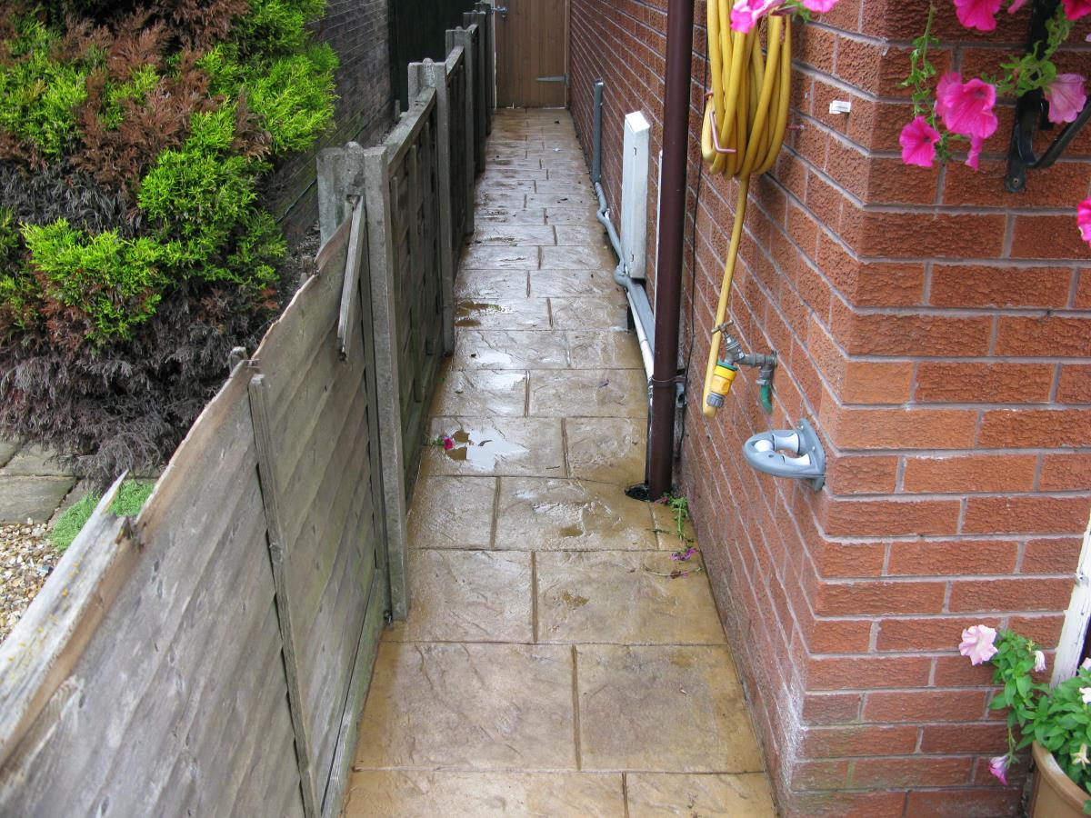 This concrete path at the side of a house in Preston, demonstrates that where you can comfortably walk, we can pattern imprint.