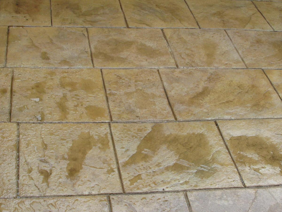 Decorative concrete stamped in walkway slate makes a great alternive to indian stone and is significantly cheaper.