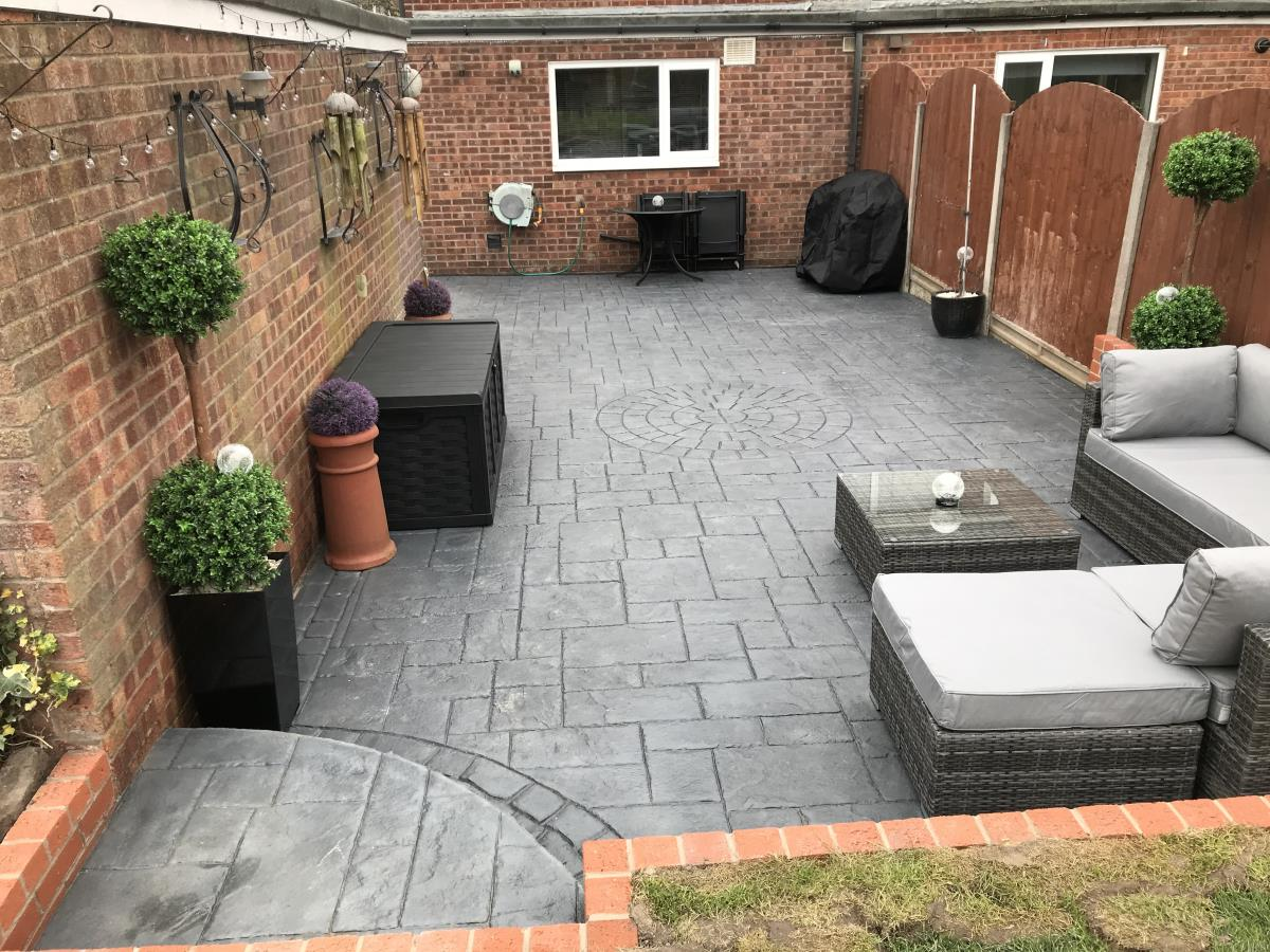 Beautiful decorative stamped concrete patio installed to the rear of a Thornton-Cleveleys property.